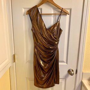 BCBGMAXAZRIA Bronze metallic one shoulder dress